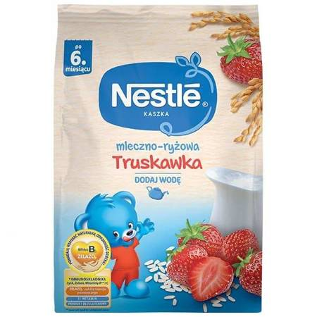 Kaszka mleczno-ryżowa Truskawka 6m+ 230g KRÓTKA DATA Nestle