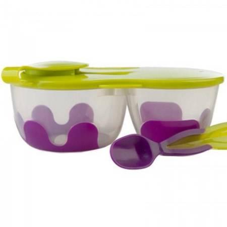 Pojemnik podwójny na żywność fiolet-zielony b.box